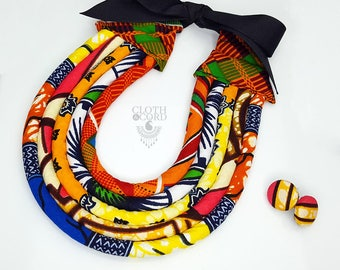 Colorful African Jewelry Fabric Rope Necklace - African Jewelry Set - African Print Necklace - blue, orange, red, yellow & black