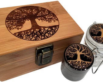 Tree of Life Stash Box Combo - with Small Titanium 4 Part Grinder and Glass herb jar  - Engraved Bamboo Decorative Wood Box