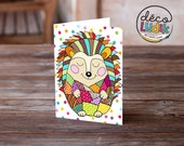 Hedgehog card, greeting card hedgehog, colorful hedgehog, hedgehog anniversary card, birthday card, hedgehog lover