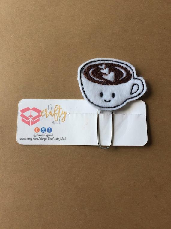Happy Coffee Clip/Planner Clip/Bookmark. Coffee cup planner clip
