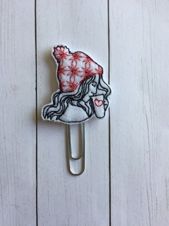 Winter Coffee Girl planner Clip/Planner Clip/Bookmark. Coffee Planner Clip. Girl Planner Clip. Winter Planner Clip. Coffee Girl Planner