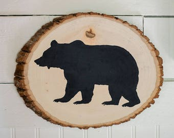 Bear Art // Wood Slice // Cabin Art // Outdoorsy // Grizzly