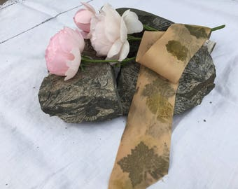Plant-dyed silk ribbon 3m - Geranium leaf prints / eco printed / naturally dyed / hand dyed / habotai ribbon