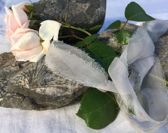 STONE plant dyed  recycled silk chiffon ribbon//hand dyed ribbon//styling ribbon//wedding ribbon//bridal ribbon//stationery//gift ribbon