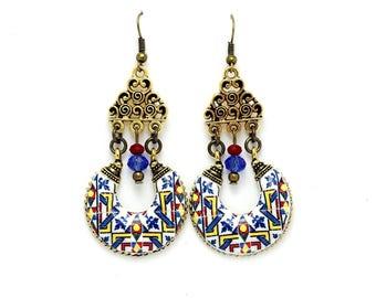 Chandelier gold earrings, portuguese tile jewelry, azulejo, Portugal souvenir, elegant earrings, anniversary gift for mom, gift for wife