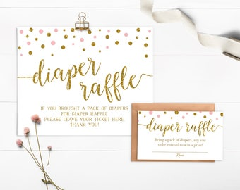 Diaper Raffle Ticket, Pink and Gold Baby Shower Diaper Raffle Printable, Pink and Gold Glitter Diaper Raffle Cards and Sign, Printable - CG2