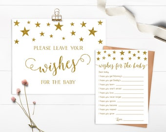 Twinkle Twinkle Little Star Wishes For Baby, Baby Wishes, Baby Shower Wishes, Baby Shower Games, Gender Neutral, Printable - SG1