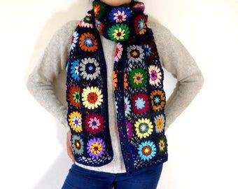 Blue denim and multicolored yarn crochet shawl