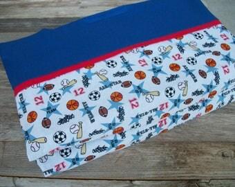 Boy Nap Mat Cover, 100% Cotton, Sports, Blue ***Choose your size!