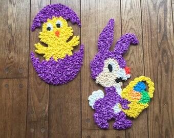 2 Vintage melted plastic popcorn Easter decorations. Bunny, Chick, Egg.