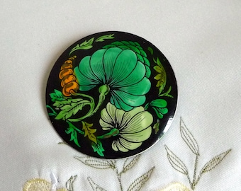 Vintage Signed West Germany Floral Art Nouveau Style Hand Painted Enamel Brooch