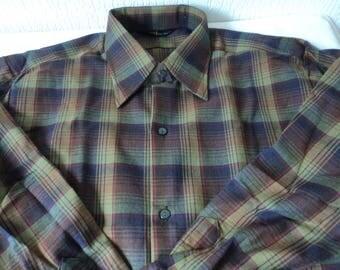French vintage ERM men's western style plaid shirt size 41 (05411)