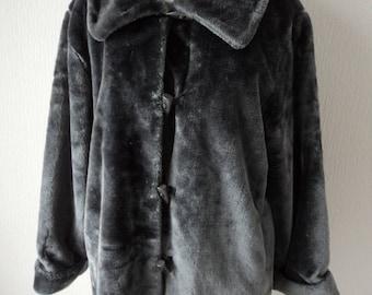 French Vintage Gabriella Vicenza grey faux fur lined jacket size UK 16-18 FR 46/48