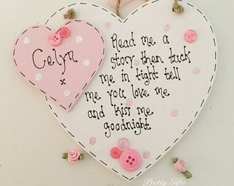 Handmade personalised 'read me a story then tuck me in tight' heart plaque baby keepsake gift