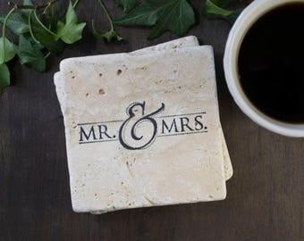Mr & Mrs Travertine Wedding Coasters, Wedding Gift, Newlywed Coasters, Rustic Home Decor, Hand Stamped Wedding Coaster, Anniversary Gift