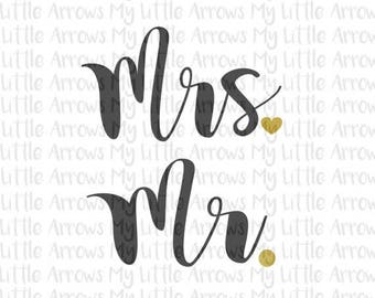 60% OFF SALE - Mr and Mrs SVG, Dxf, Eps, png Files for Cutting Machines Cameo or Cricut // wedding shower svg // heart shirt // wedding svg