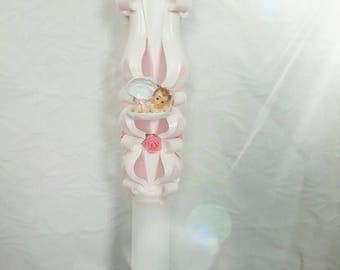CURVED Christening Baptism 4.6x60cm candle
