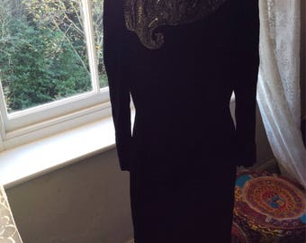 Vintage Black Velvet Dress USASize 6
