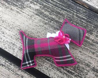 Scottie Dog Ornament - Fuschia