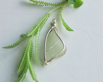 Sea Glass Necklace, Wire Wrapped Sea Glass, Wire Wrapped Necklace, Sterling Silver