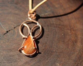 sunstone pendant on recycled copper - pendant necklace