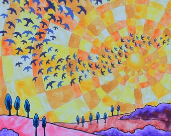 Flock of Birds Flying with the Sun; Original Painting