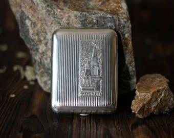 Vintage Soviet Cigarette Case Moscow City Kremlin Vintage Cigarette Box Business Credit Card Holder Metal Wallet USSR gift for him