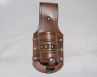 Beer holster. drink carrier, drink caddy handmade hand tooled