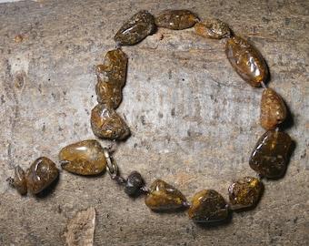 B8 - natural, raw, dark amber bracelet