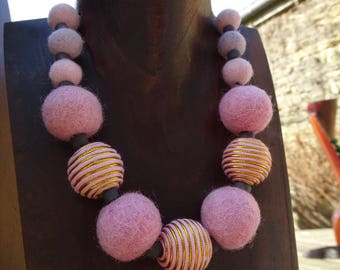 Necklace with balls felted wool & wooden or black