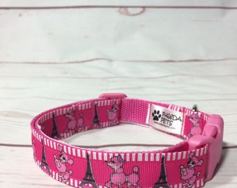Pink Paris dog collar, leash or set