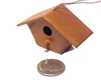 Miniature metal birdhouse Copper or rusty color