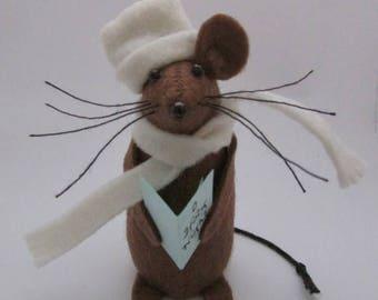 Christmas Mouse - Carolling Mouse - Felt Mouse - Felt Mice - Mouse Christmas Decoration