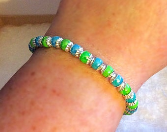 Blue and green pearl bracelet