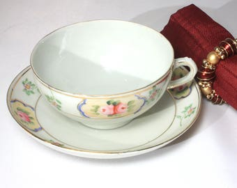 Delicate Nippon Porcelain Tea Cup and Saucer by Royal Crown Kinran