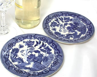 Blue Willow Six Inch Bread Plates, Vintage Japan