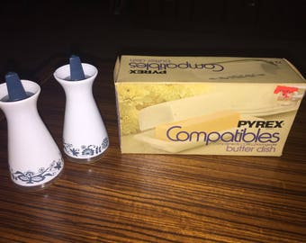 Pyrex Compatibles Old Town Blue salt and pepper shakers and butter dish (butter dish new in box)