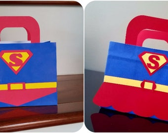 Superman Favor Bags, Supergirl Favor Bags, Superman Treat Bags, Supergirl Treat Bags - SMALL Size (set of 10)