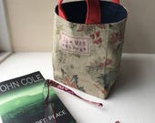 Storage Basket, linen/cotton fabrics upcycled from fabric sample book in denim, red, navy and coffee