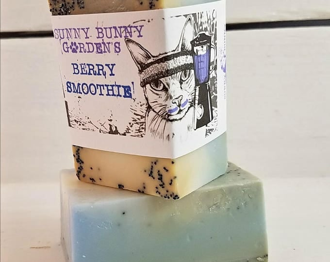Berry Smoothie Exfoliating Soap, Blueberry Soap, Vegan Soap, Raspberry Scented Soap, Pretty Berry Soaps, Funny Soap Labels, Refreshing Soap