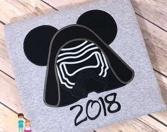 Kylo Ren Mouse Head Inspired Shirt, Disney Vacation, Kylo Ren Mickey Mousehead Shirt, Kylo Ren Mickey Shirt, Star Wars Magical Vacation