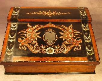 Rare Antique Georgian - Victorian English Ladies Stationary Cabinet Writing Slope Walnut Silver Abalone  C1840