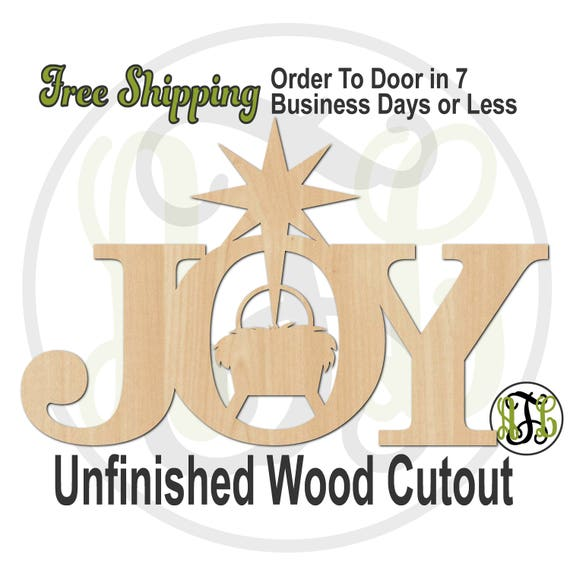 Joy with Manger & Star- 180253- Christmas Cutout, unfinished, wood cutout, wood craft, laser cut wood, wood cut out, sign, Door Hanger