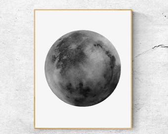 Watercolor Moon Print, Gray Moon Art, Full Moon Print, Moon Art Print, Watercolor Moon Poster, Celestial Print, Modern Wall Art