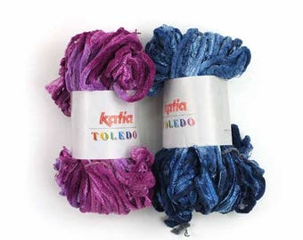 Scarf Yarn, 2 pack SALE Toledo by Katia, Denim and Magenta shades