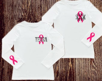 Breast Cancer Survivor Shirt / Pink Ribbon Mongram shirt /  Survivor shirt / survivor / breast cancer shirt