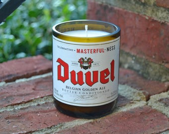 Duvel Belgian Golden Ale beer bottle candle made with soy wax
