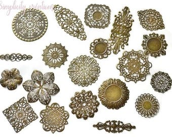 Print set of 20 scrapbooking embellishments