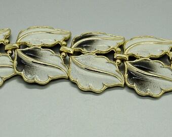 Black and White Enameled Leaf Bracelet Fashion Jewelry