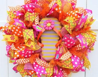 Flip Flop Wreath, Summer Wreath, Summer Deco Mesh Wreath, Flip Flops Wreath, Summer Mesh Wreath, Pink Mesh Wreath, Beach Wreath